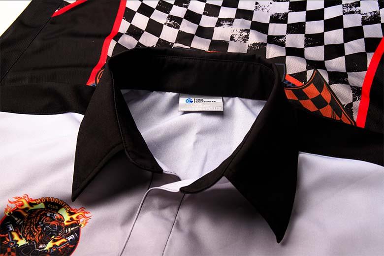 sublimated racing crew shirts Collar