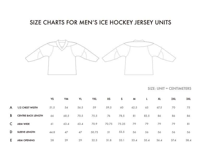 size charts for hockey jerseys