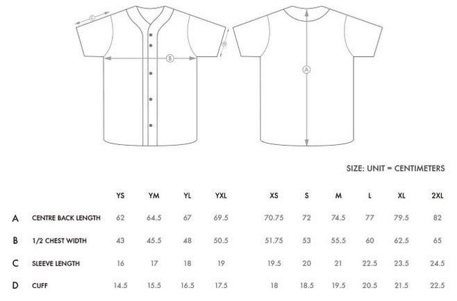 Sublimation jersey sizes