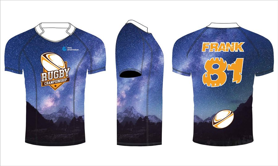 100% polyester dry fit sublimation printing custom team rugby jerseys