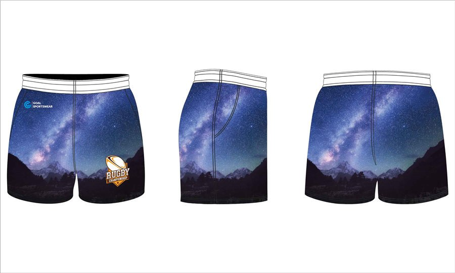 100% polyester sublimation printing custom team rugby shorts