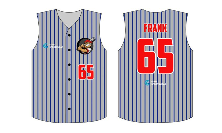 Custom design sublimation full buttons sleeveless baseball jerseys