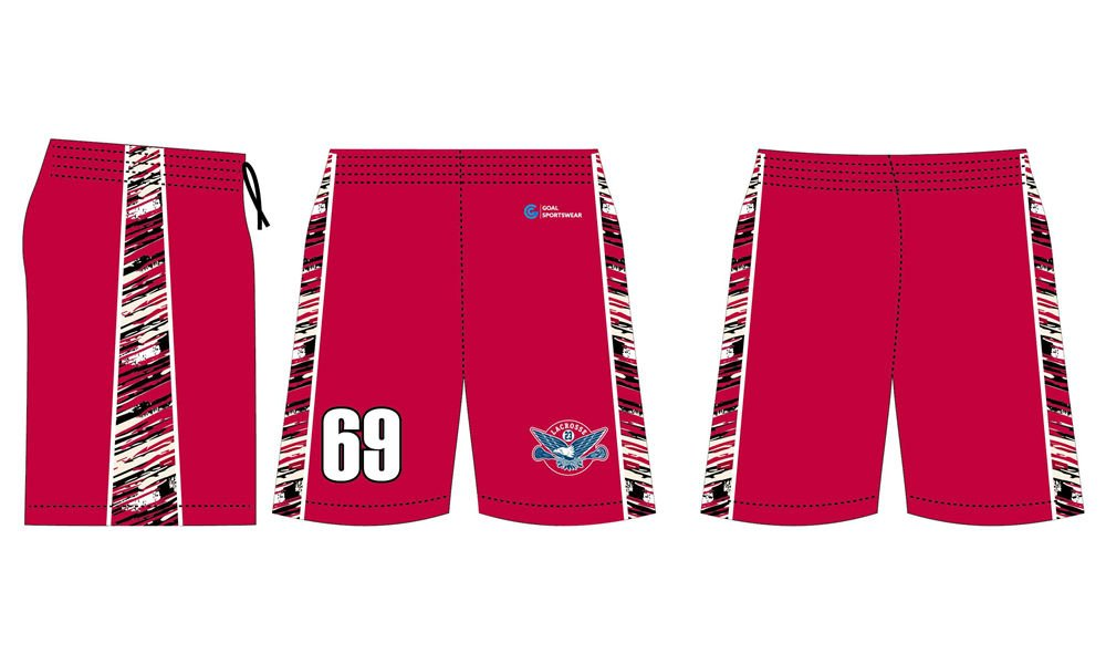 Custom design sublimation printing poly breathable lacrosse shorts