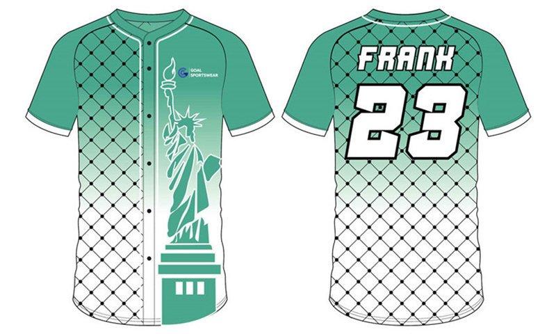 Custom made mens full button short sleeve team baseball jersey