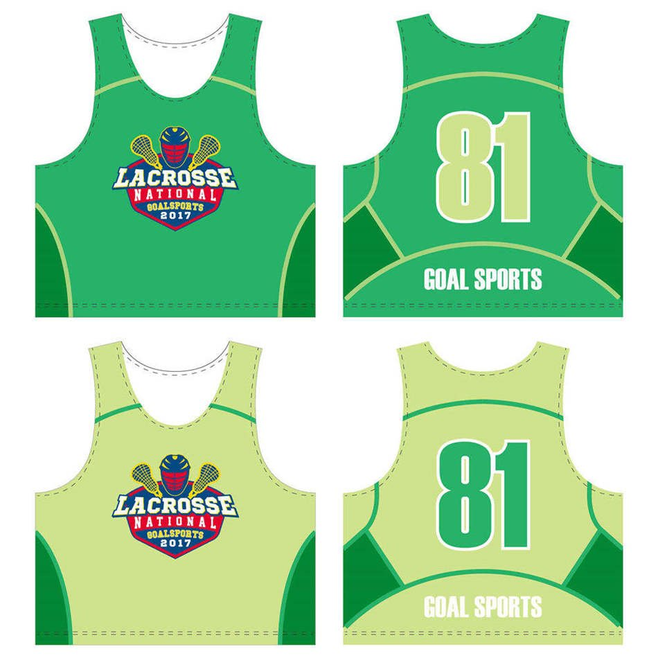 Custom made sublimated printing college lacrosse reversible pinnies