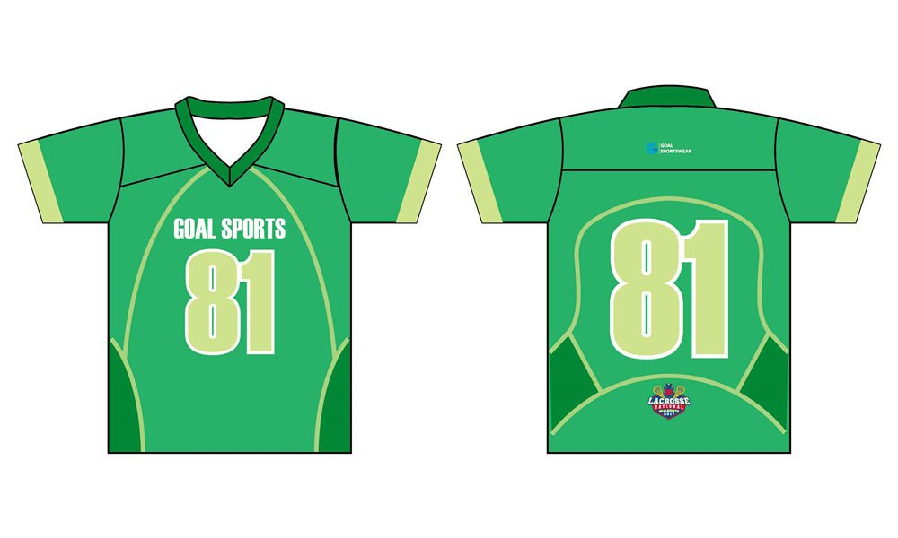Custom made sublimated printing college short sleeve lacrosse jerseys