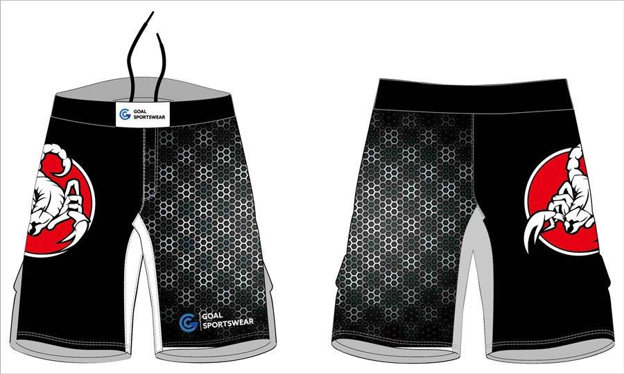Custom made sublimation printing mens pro mma training shorts