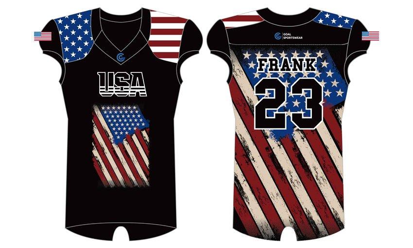 Custom wholesale sublimated printed flag football jerseys