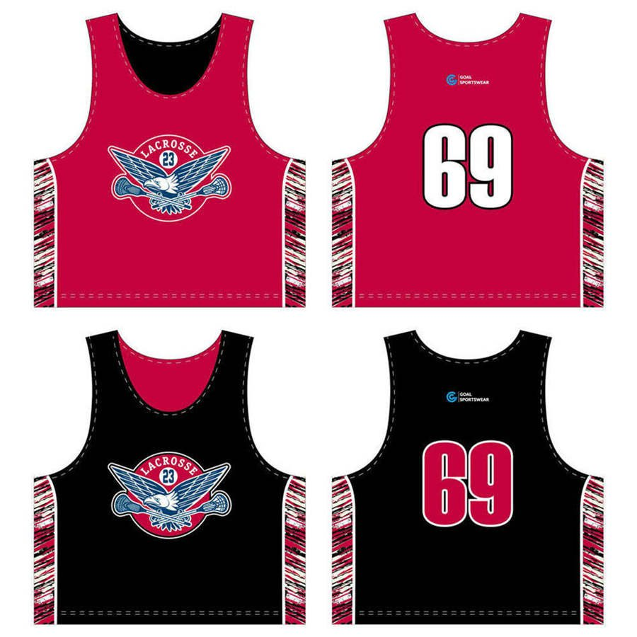 Custom wholesale sublimated printed lacrosse reversible pinnies