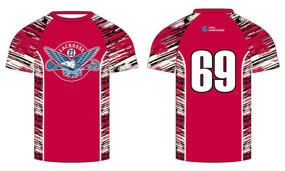 Custom wholesale sublimated printed short sleeve lacrosse shooters