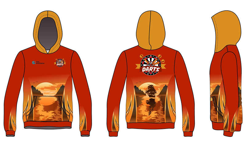 Dye sublimation custom design team dart hoodie
