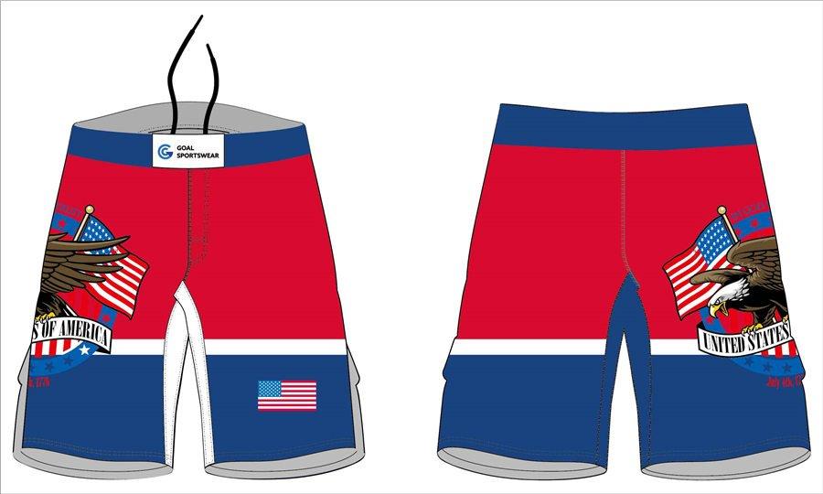 Dye sublimation printing custom design college fight shorts wrestling