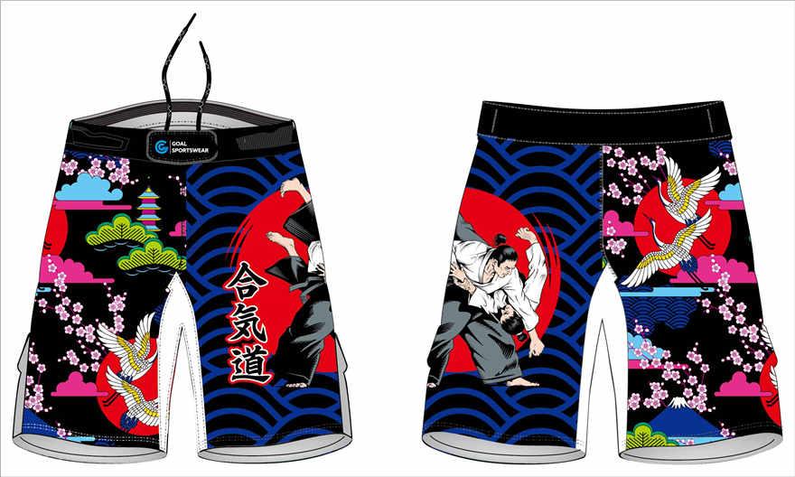 Dye sublimation printing pro 4 way stretch custom design mma fight shorts