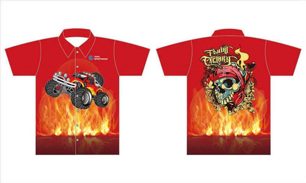 Full dye sublimation printing custom made team racing pit crew shirts