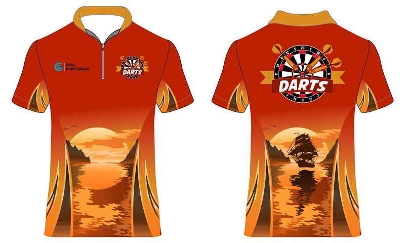 Full polyester breathable custom design sublimated dart jerseys