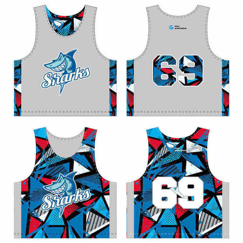 Full sublimation custom design reversible lacrosse pinnies