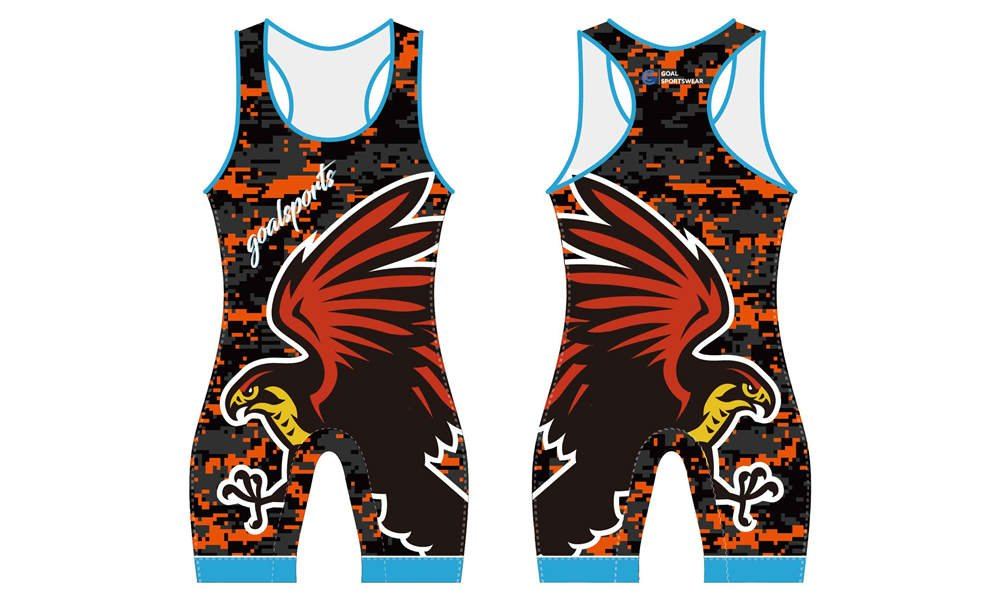 Full sublimation printing Custom red camo design wrestling singlets