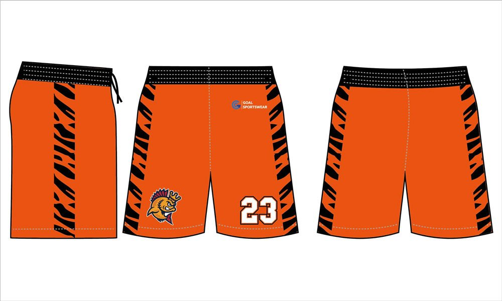 High school sublimation custom printed 2 pockets lacrosse shorts