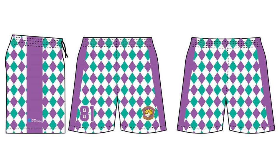 Pro polyester breathable sublimated custom team lacrosse shorts