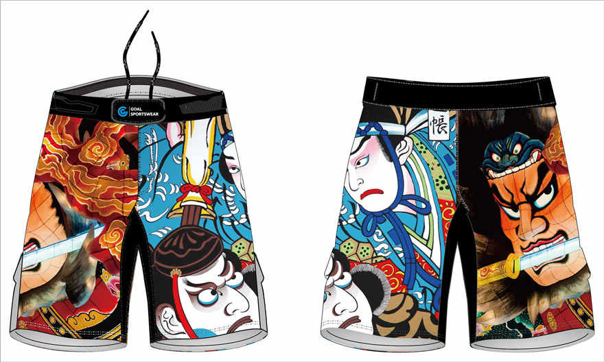 Sublimation high quality custom design youth mma fight shorts