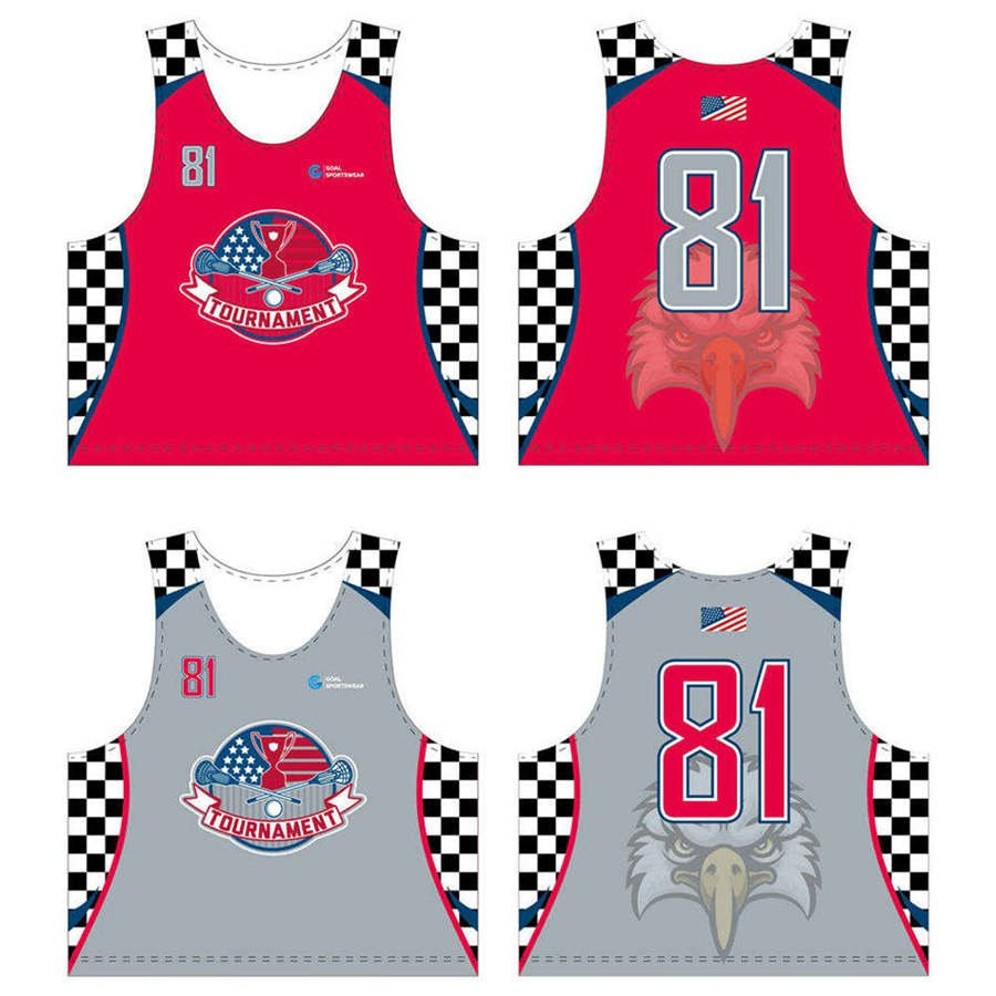 Sublimation printing 100%polyester custom team lacrosse reversible pinnies