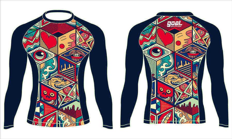 Wholesale China custom design sublimation printing wrestling MMA rash guard