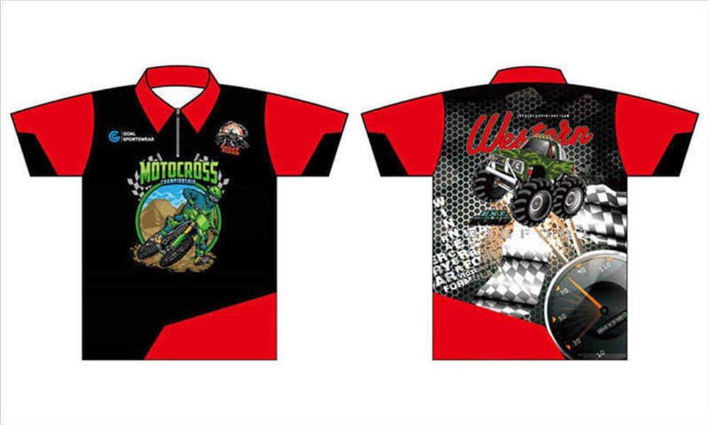 Wholesale pro quality custom design sublimated youth racing pit crew shirts