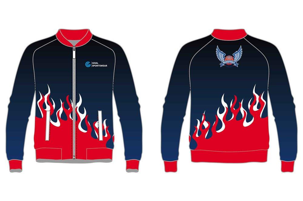 custom flame design basketball jackets