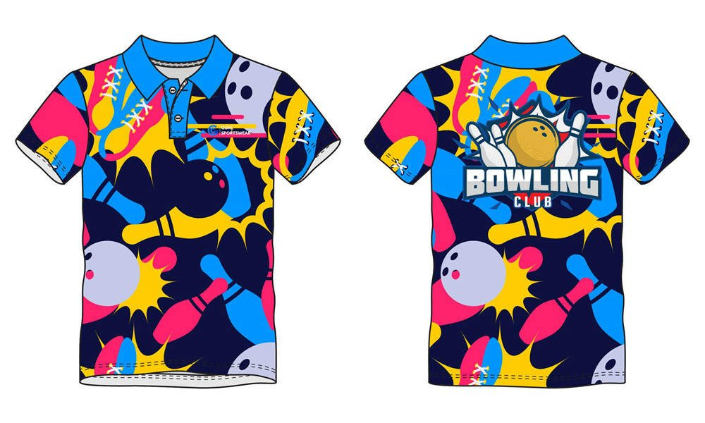 100% polyester sublimation custom printed bowling jerseys