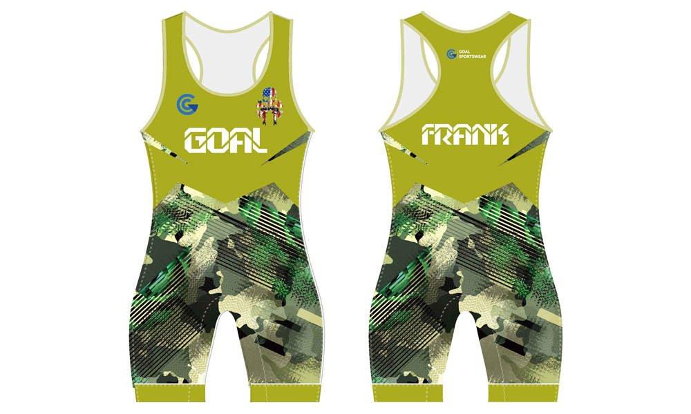 100% polyester sublimation custom printed wrestling uniform