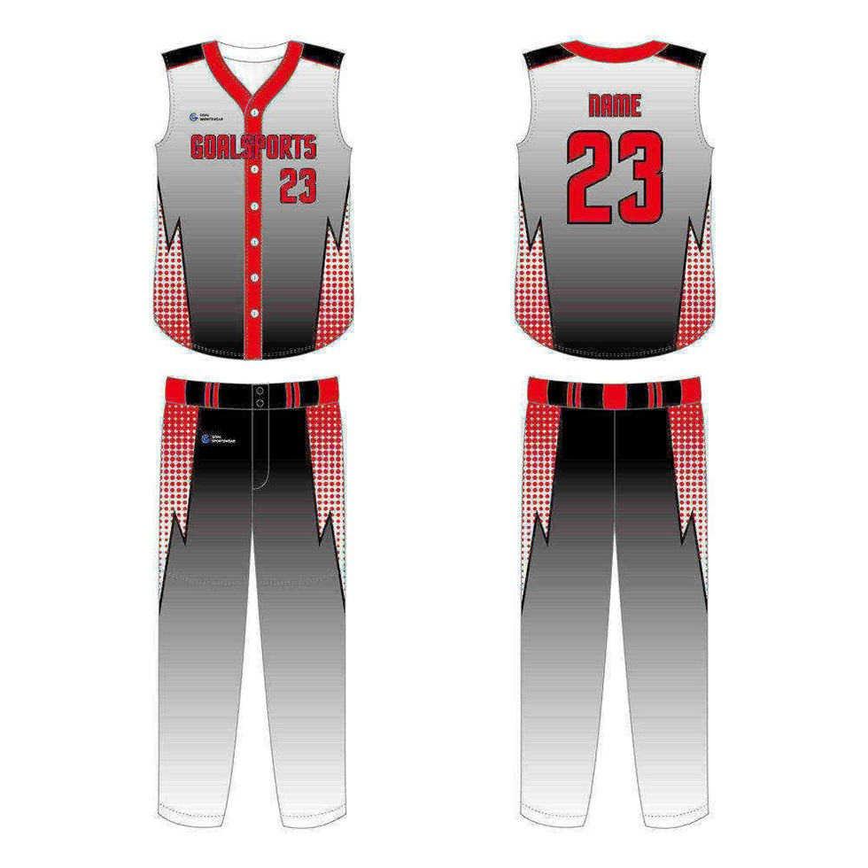 100% polyester sublimation printing custom youth team sleeveless baseball jersey