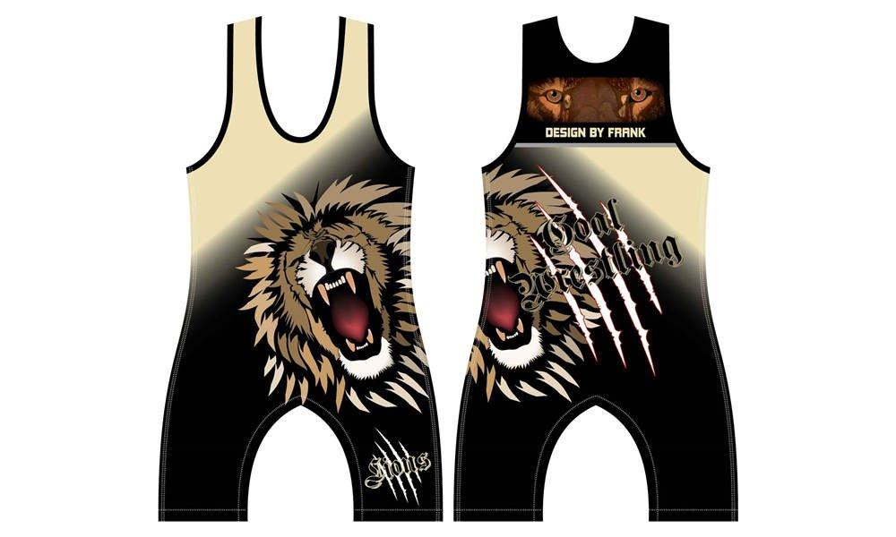100% polyester sublimation printing custom youth team wrestling uniform