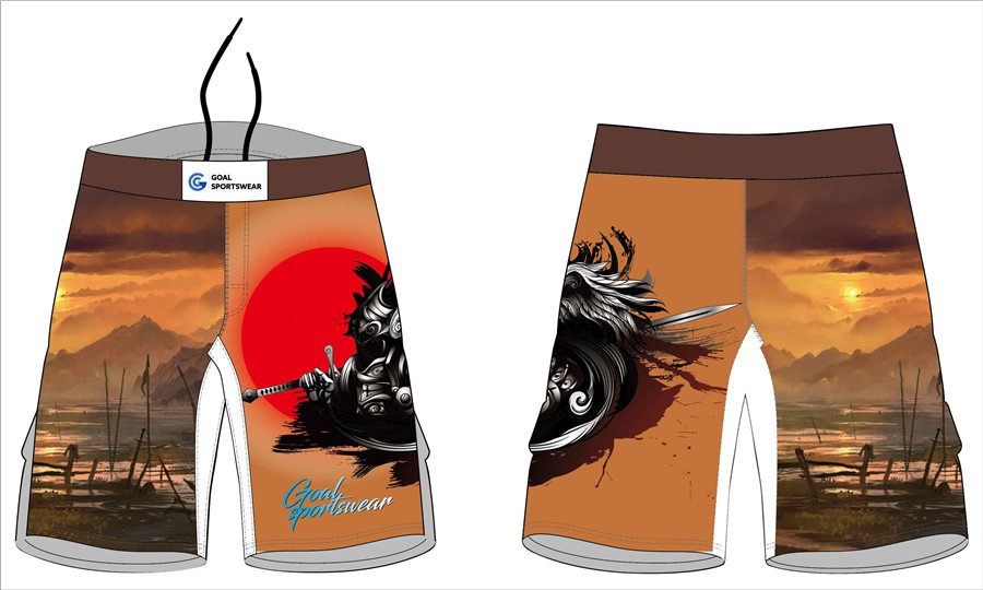 Custom design sublimation printing poly black mma spandex fight shorts