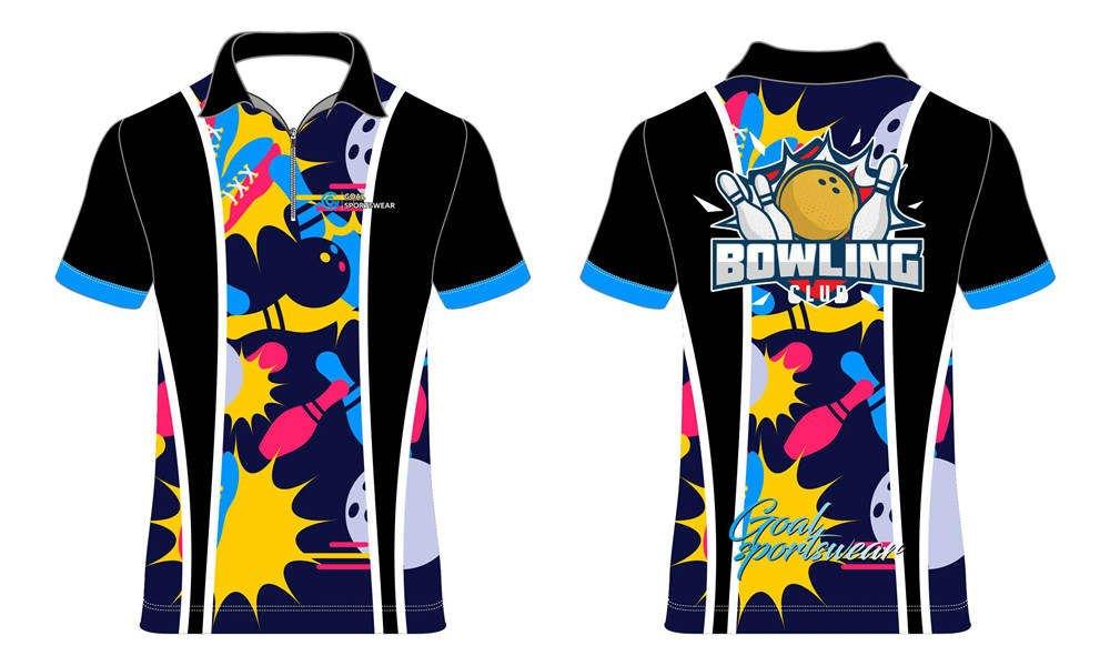 Custom made sublimated printing short sleeve bowling jerseys