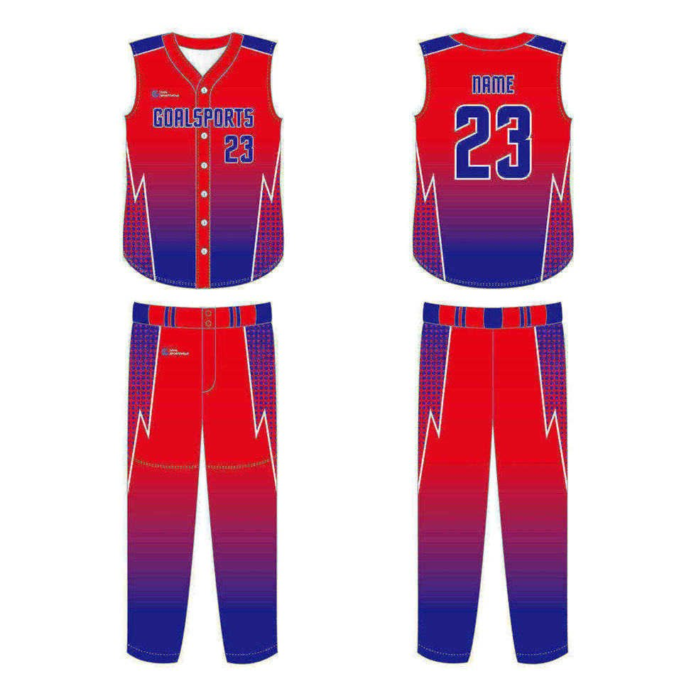 Custom made sublimation printing mens pro sleeveless baseball jersey