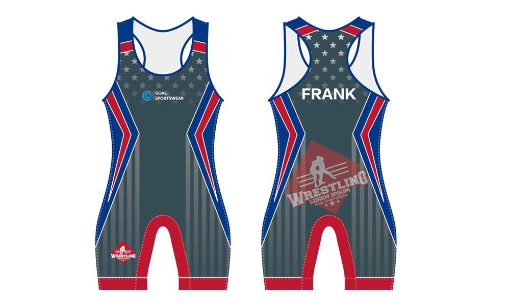 Custom made sublimation printing mens pro wrestling uniform