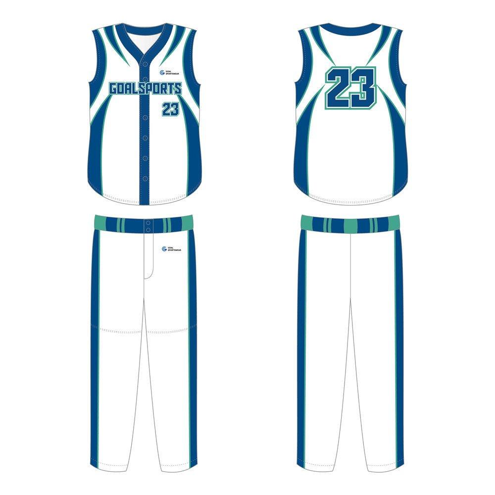Custom wholesale sublimated printed sleeveless baseball jersey