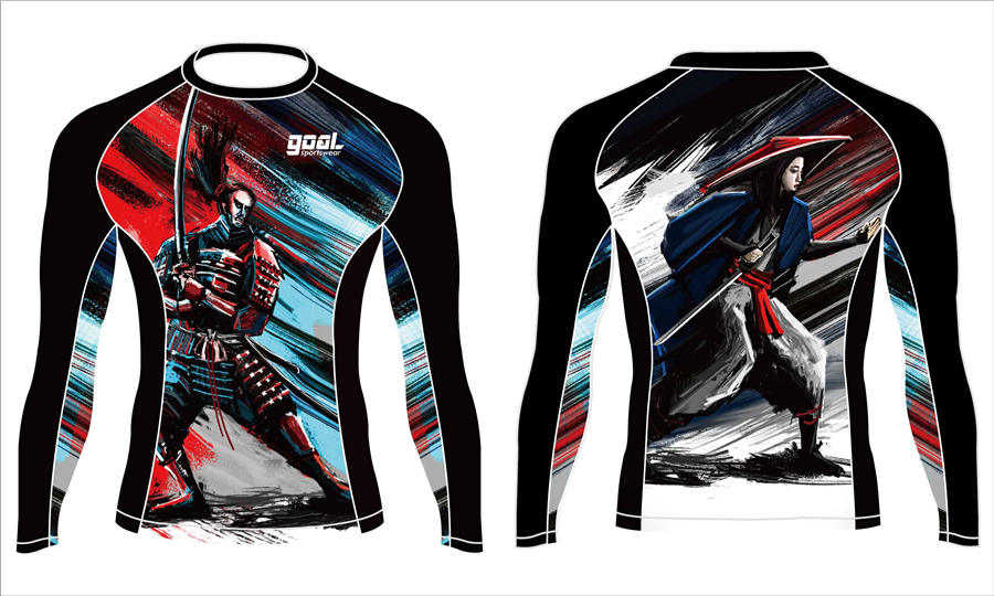 Dye sublimation custom design team rash guard shirts