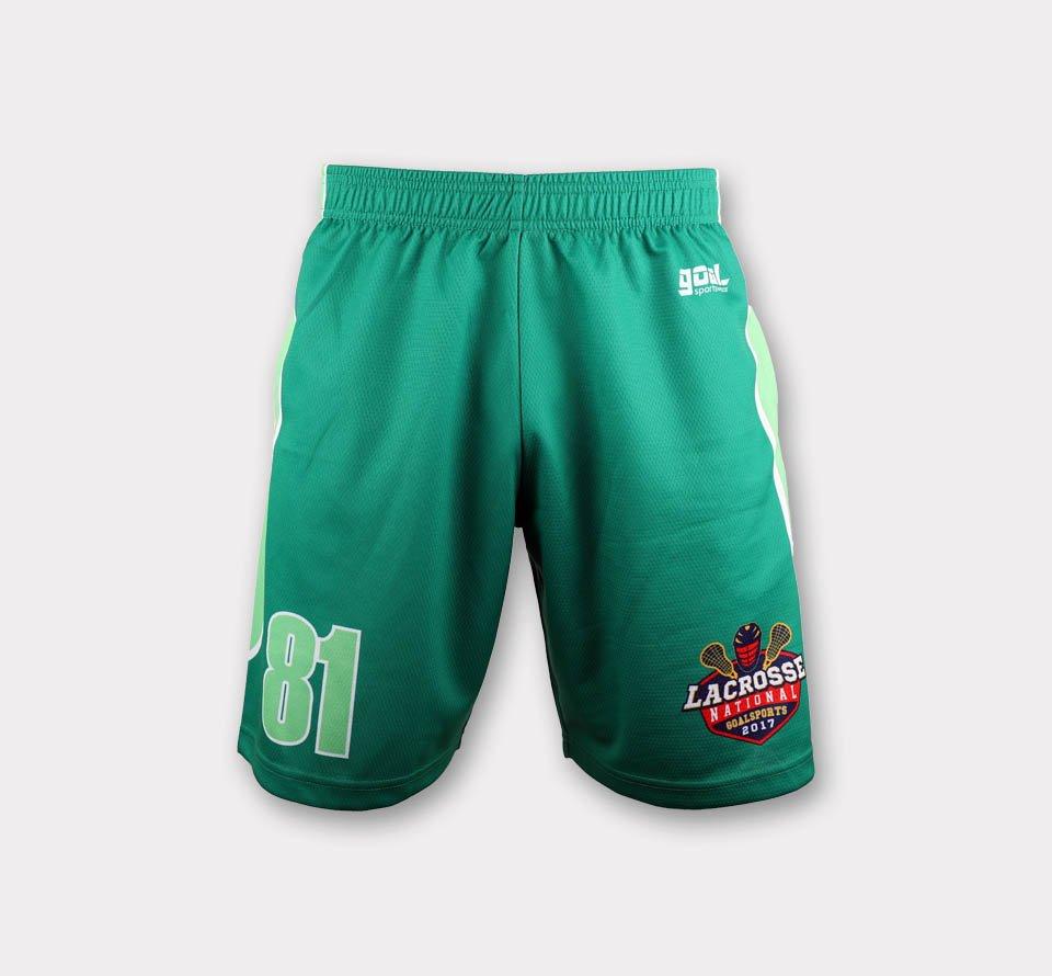 Dye sublimation printing Custom design youth lacrosse shorts