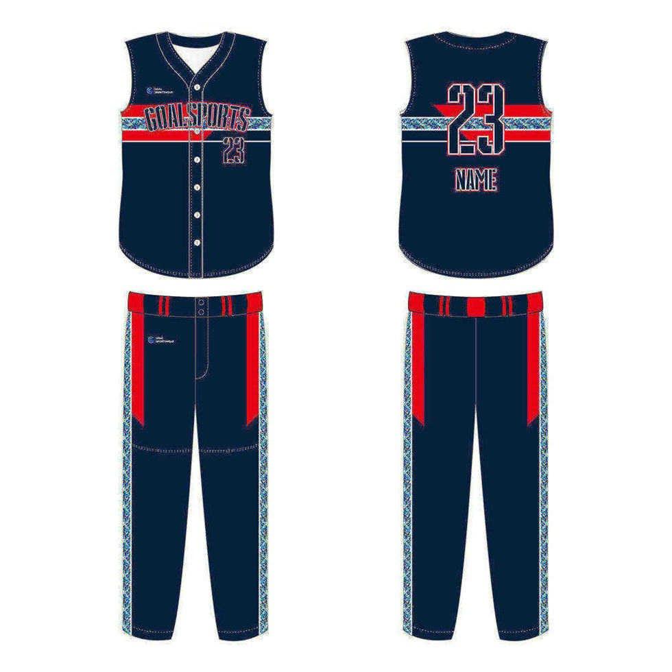 Dye sublimation printing Custom design youth sleeveless baseball jersey