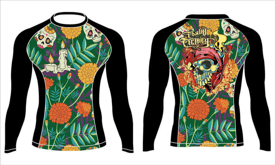 Dye sublimation printing custom design college long sleeve wrestling rash guard