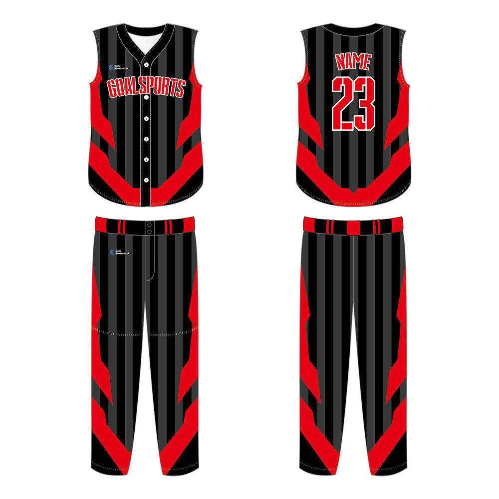 Dye sublimation printing custom design full polyester sleeveless baseball jersey