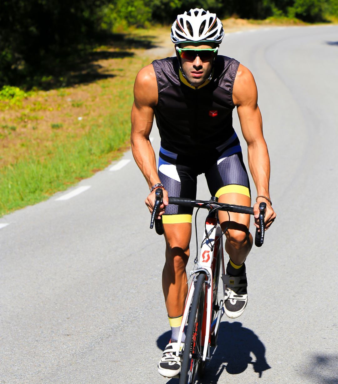 Cyclist wearing vest