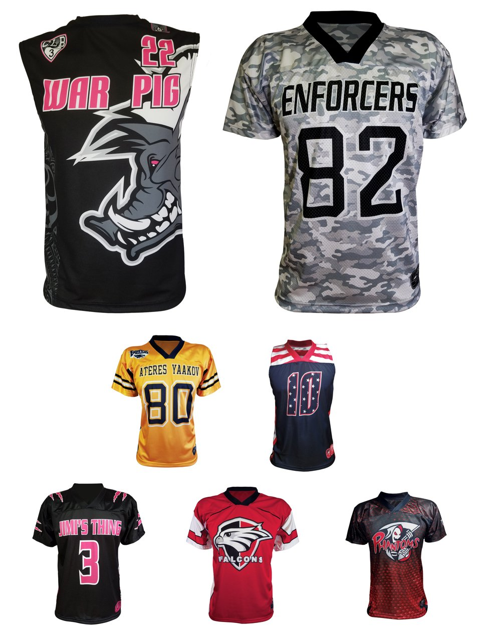 Types of Sublimated flag football jersey