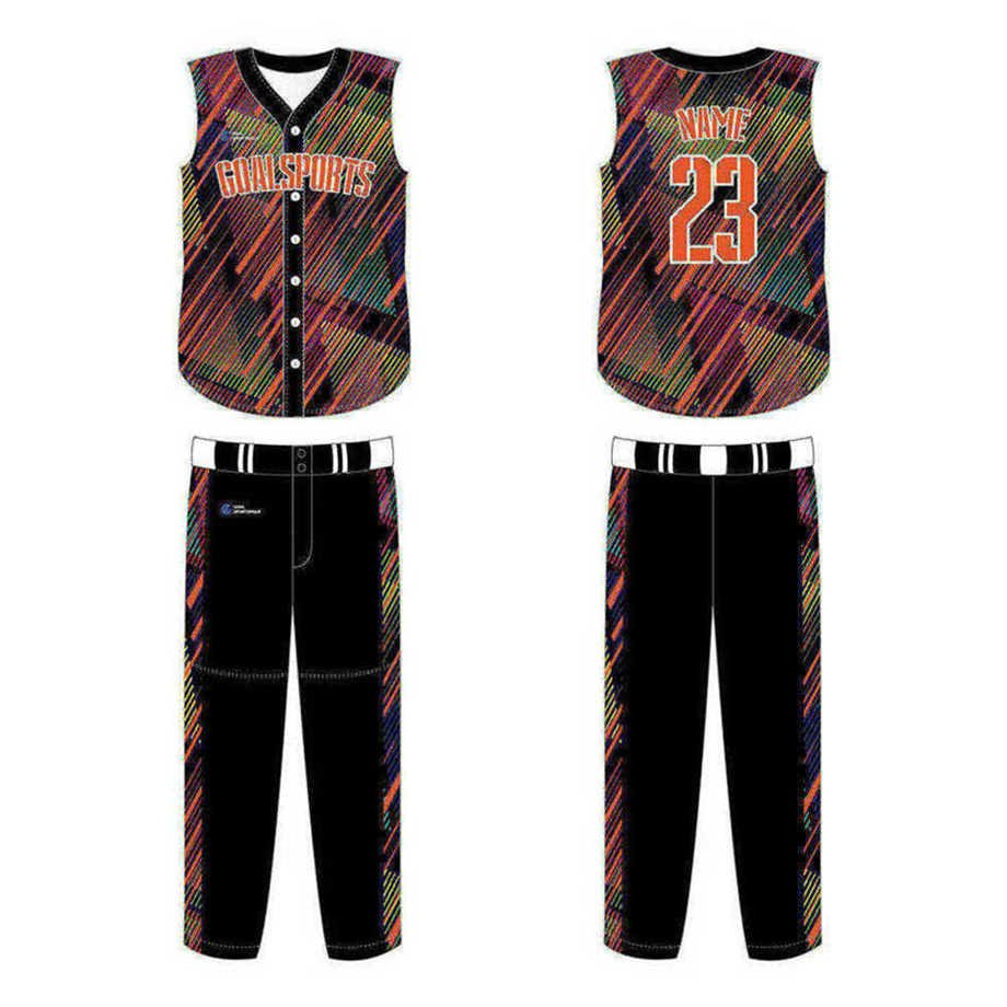 Full Sublimated custom made mens team sleeveless baseball jersey