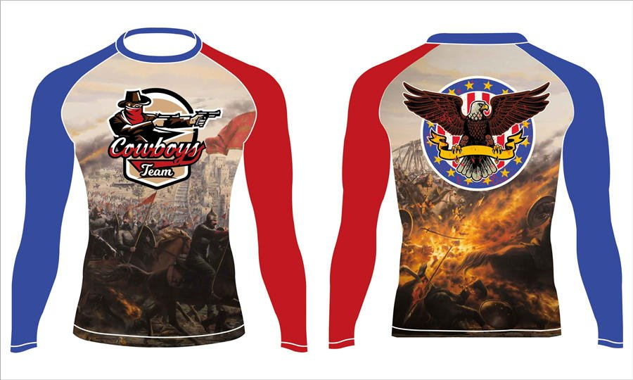 Full dye sublimation printing custom made team rash guard shirts