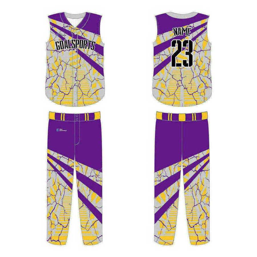 Full dye sublimation printing custom made team sleeveless baseball jersey