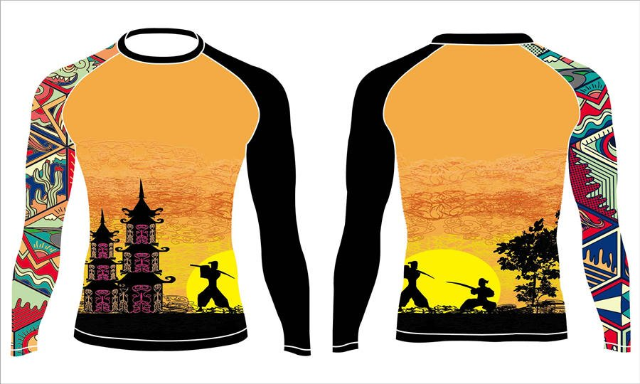 Full dye sublimation wholesale custom rash guard shirts