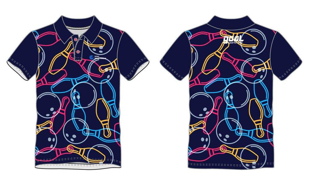 Full polyester Custom made durable mens team bowling jerseys