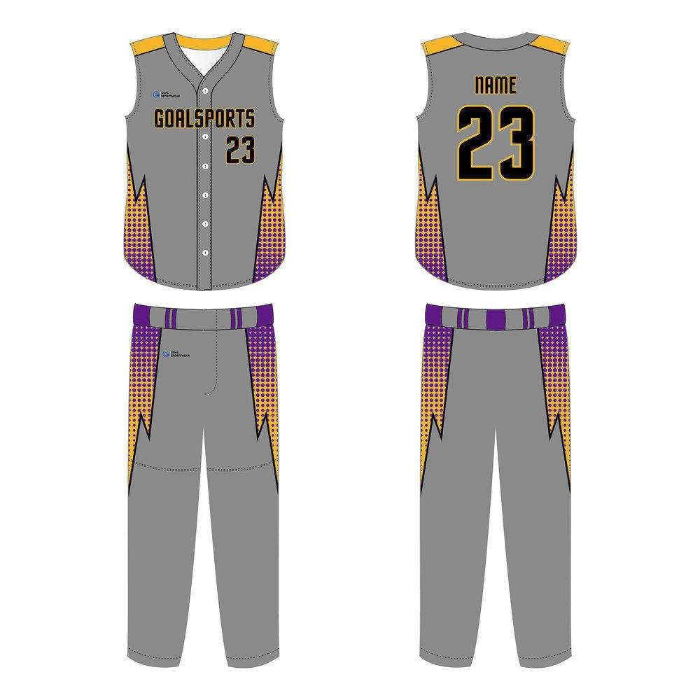 Full polyester Custom made durable mens team sleeveless baseball jersey